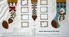 """23"""" Fabric PANEL - Henry Glass Winter Blessings Primitive Country Stocking Beige"""
