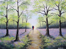 SARAH FEATHERSTONE ORIGINAL ART SIGNED CANVAS OIL PAINTING, Bluebell Forest Walk