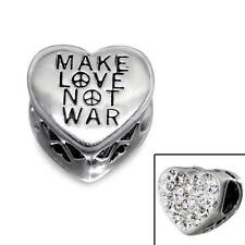 925 Sterling Silver Make Love Not War Heart Peace Bracelet Charm Bead Gift B343