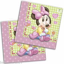 20 Disney Pink Baby Minnie Mouse Party 2ply Disposable 33cm Paper Napkins