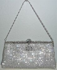 Swarovski Crystal Beaded Evening Clutch Handbag Purse - Silver - New!