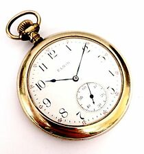 Vintage Elgin Size 12 White Dial Hand Wind 60 Min Unique Pocket Watch