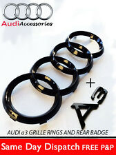 AUDI A3 GLOSS BLACK FRONT RINGS AND A3 LETTERS BADGE EMBLEMS BONNET BOOT A3