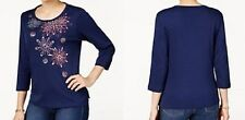 Alfred Dunner shirt size 3X Navy Blue w/Pink and Blue Stitched Flowers