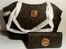 Michael Kors Brown PVC Jet Set Travel Chain Shoulder Tote Bag MK Fulton Wallet