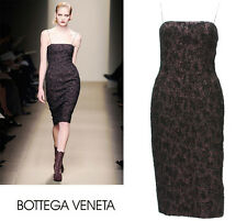 NEW $1380 BOTTEGA VENETA RUNWAY BLACK PINK SPAGHETTI STRAP BOUCLE DRESS 46 - 10