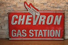 Distressed Old Neon Look CHEVRON Gas Station Store Wall Display Embossed   pump