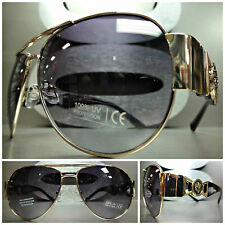 CLASSIC VINTAGE RETRO HIP HOP RAPPER Aviator Style SUNGLASSES Gold & Black Frame