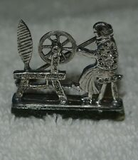 VINTAGE _ANTIQUE LADY & SPINNING WHEEL STERLING SILVER PIN_BROOCH *HALLMARK*