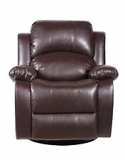 Bonded Leather Rocker and Swivel Recliner Living Room Chair - Brown