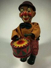 "Drummer Clown Vintage Wind Up Tin Toy (7"") working condition"