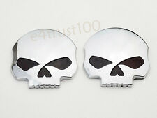 2X 3D Skull Emblem Decal For Harley Sportster Tank Fairing Softail Touring Dyna