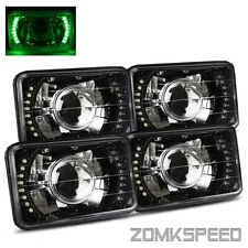 4 Lamps System 4x6 Semi-Seal Glass Green LED Black Crystal Projector Headlights