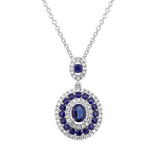 1.28TCW 14K White Gold Oval Round Cut Blue Sapphire and Diamond Pendant Necklace