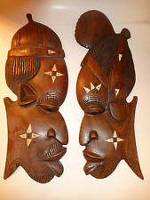 Carved Wood African Face Male & Female Pair Wall Decor w/Mother of Pearl Inlaids