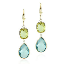 14K Yellow Gold Earrings With Lemon & Blue Topaz Gemstones