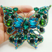 Vintage Retro Butterfly Insect Gold-plated Brooch Pin Green Rhinestone Crystal