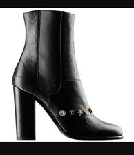 NIB CHANEL Black Leather Dallas Charms Short Boots CC Logo Stars Coin 40 8 8.5