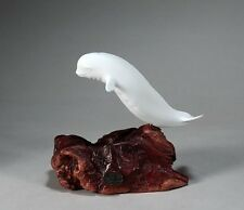 BELUGA WHALE Statue New direct from JOHN PERRY 9in long Pellucida Sculpture