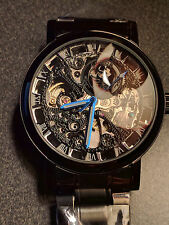 Voltaic Mens Watch Black Metal Hollow Skeleton Steampunk New