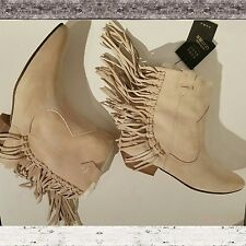 ZARA Basic Flat Suede Leather Ankle Boots with Fringe Size 6 US