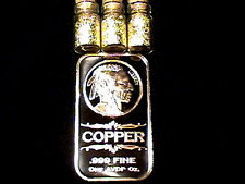 (2) 1 OUNCE .999 FINE COPPER BULLION INDIAN HEAD BARS + 3 JARS 24K GOLD FLAKES