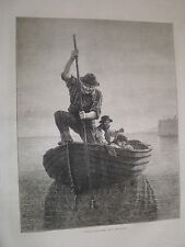 Spearing Flounders by H Maccallum 1871 print ref Z3