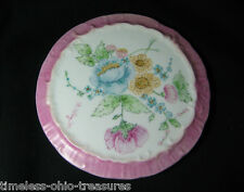 "plate tray wall hanging plaque porcelain handpainted flowers 6 1/2"" W vintage"