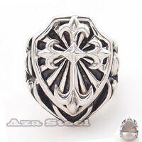 Men's Huge Heavy Knight Fleur De Lis Cross Stainless Steel Ring Size 10,11,12,13