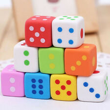 New 10pcs/lot Dice Shape Cute Pencil Eraser Rubber  Kids School Stationery Gift