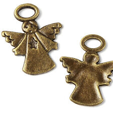 Set of 4 Antique Bronze Angel W/ Halo and Wing Pendant Charms Pewter Base Metal