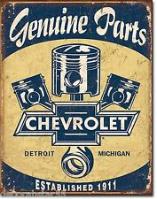 Large Chevy Chevrolet Pistons Genuine Parts Vintage Retro Metal Tin Sign 1722