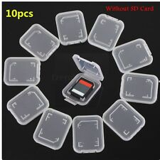 10Pcs Transparent SD Compact Flash Memory Card Holder Box Storage Plastic Case