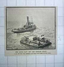 1917 Red Cross Raft Off African Coast Ambulance Cars Being Towed Ashore