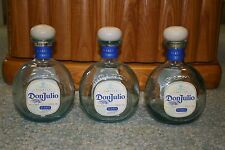 3 DON JULIO BLANC TEQUILA EMPTY BOTTLES, 750 ML, CORKS included
