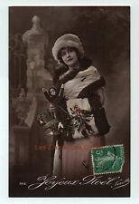 Carte postale ancienne | Femme | Statue | Poupée | Joyeux Noël | Fourrure