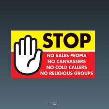 SKU79 stop cold calling porte autocollant no Canvassers callers groupes religieux signe