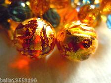 Schöne kleine, edle Amber Gold Exterior-Murano-Perle -12mm- m.viel Echtgold