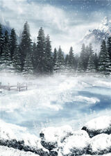 Winter Snow Scenic Photo Backdrop Forest Vinyl Photography Background Prop 5x7ft