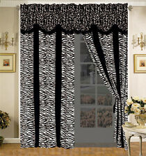 4-Pc Safari Micro Fur Curtain Set Giraffe Zebra Black White Drape Valance Liner