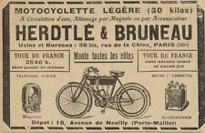 Y8235 Motocyclette Herdtlé & Bruneau - Pubblicità d'epoca - 1907 Old advertising