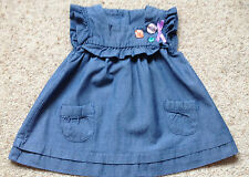 GEORGE BABY GIRLS PRETTY DENIM CAP SLEEVED DRESS AGE 0-3 MONTHS EX COND