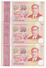 Singapore SG50 $10 banknotes - 3 runs  UNC  Nice Number 5BS067407-09 (SG-6)
