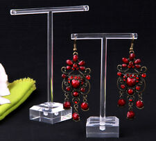 "Earrings Jewelry Display T Bar Stand Holder Rack Organic Glass 4.5+3.7"" 2Pcs"