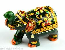 426 Ct EBAY Home Decorative Gold Art Work Dark Green Jade Elephant Figurine