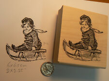 "P12 Boy on sled 2.4x2.1"" WM Rubber Stamp vintage"