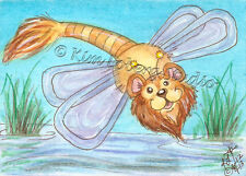 Lion Dragon Fly Cat aceo EBSQ Kim Loberg Mini art Fantasy insect Bug Pond reeds