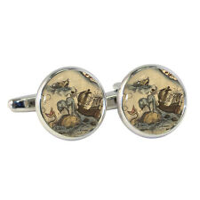 Vintage Style Sea Monsters Cufflinks Olde Nautical Sailing Treasure Map NEW BNIB