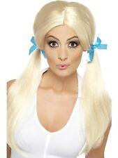 Womens Girls Sassy School Girl Pigtails Wig & Ribbon Ties Sexy Fancy Dress