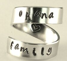 ohana family - Adjustable Twist Wrap Aluminum Ring - Handed Stamped